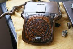 Leather Belt Bag DragonCeltic Knot Work Leather by sevenannine, $175.00