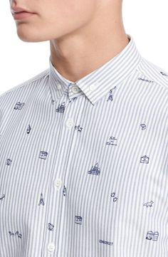 Maison Kitsuné Trim Fit Parisian Print Oxford Shirt