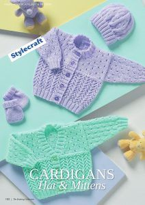 Lace Cardigan, Hat and Mittens Baby Set Knitting Patterns. Free Pattern Related posts: Newborn Knit Set – Sweater Bonnet Booties 10 Adorable Baby Knit Hat Patterns for 2017 Back to Basics Baby Cardi Free Knitting Pattern Colorwork Hat Knitting Pattern for all Ages
