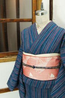 青美しいゆらぎ縞ナチュラルモダンなウール紬単着物