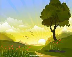 Vector de paisaje con sol…