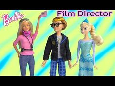 Barbie Doll Movie Film Director Toy Review Playing on set Disney Frozen Queen Elsa Ever After High - YouTube