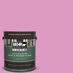 BEHR Premium Plus Ultra 1-gal. #690B-4 Pink Begonia Semi-Gloss Enamel Exterior Paint