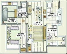 Planta baixa - Apartamento pequeno decorado barato