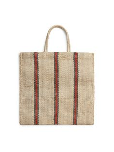Front image of Arket turtle bags striped tote in beige