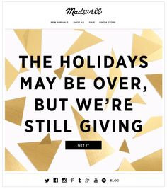 Madewell holiday sale email. SL:  We're feeling extra generous