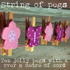 String Of Wooden Butterfly And Flower Pegs