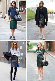 How To Wear A Pencil Skirt 101! Love Eva Chen (hint: she's the one in the top right corner.)