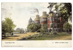 Vintage Grand Island Nebraska 1910's Postcard Soldiers and Sailors Home Verdon Nebraska Postmark