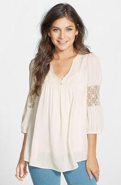 Free shipping and returns on Painted Threads Crochet Inset Peasant Top (Juniors) at Nordstrom.com. Three-quarter sleeves inset with panels of crocheted mesh add a fun, girly touch to this relaxed, pleated peasant top.