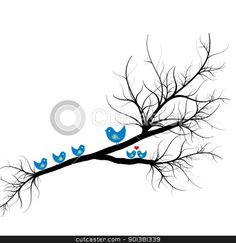 Silhouette of birds on branch stock vector clipart, Beautiful silhouette of birds on branch  by Ingvar Bjork