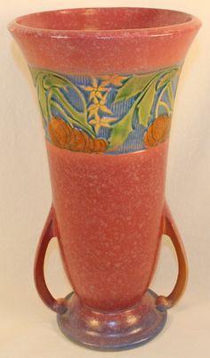 Roseville Pottery Baneda Pink Vase 598-12 from Just Art Pottery