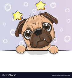 Illustration about Greeting card cute Cartoon Pug Dog on a blue background. Illustration of holidays, mammals, love - 121516571 Cartoon Cartoon, Cute Cartoon Boy, Kitten Cartoon, Cartoon Monkey, Cute Cartoon Characters, Cute Lion, Cute Sheep, Pugs, French Bulldog Art