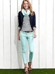 Take a look at 35 best outfits with mint jeans to get ideas from in the photos below and get inspiration for your own amazing outfits! lots of different ways to wear mint jeans in the winter Image source Street Style Outfits, Mode Outfits, Fashion Outfits, Fashion Trends, Woman Outfits, Street Outfit, Fashion Ideas, Look Fashion, Street Fashion