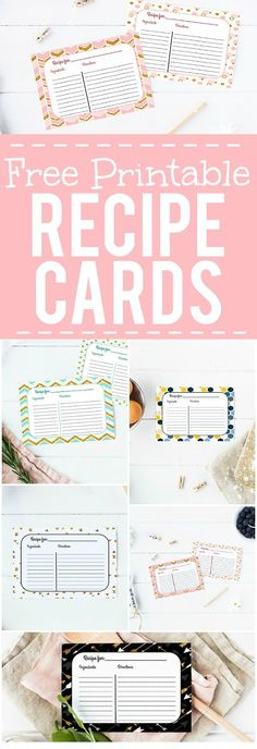Free Printable Recipe Cards -Keep all of your favorite recipes safe and… #FinanceBinder