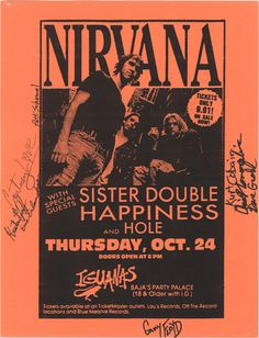 An autographed Nirvana and Hole flyer is up for auction.