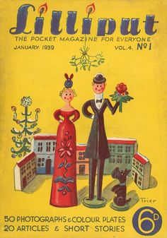 Lilliput Magazine, January 1939, Volume 4, Number 1, Cover art by Walter Trier.