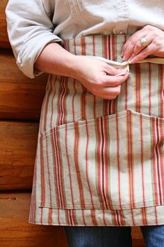 Vertical Stripes Vendor Apron Natural Hues by SalvageSeamstress, $22.00
