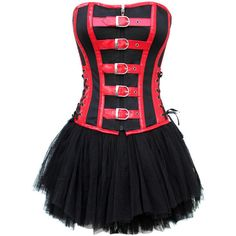 Red and Black Goth corset  Gothic corset ($36) ❤ liked on Polyvore featuring dresses, corset, vestidos, short dresses, party dresses, corset dress, sexy corset and sexy mini dress