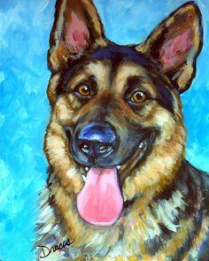 Smiling German Shepherd Painting by Dottie Dracos