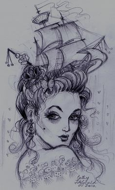 Wild at Heart Tattoo -  Marie Antoinette inspired sketch by Cathy Fitzgerald.