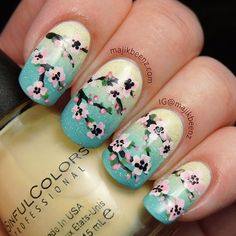 """Nails / Nailart -  Spring cherry blossom nails. Gradient is Sinful Colors """"Unicorn"""" and China Glaze """"For Audrey"""" topped with CG """"Fairy Dust"""". --- follow me on Instagram @majikbeenz or at majikbeenz.com"""