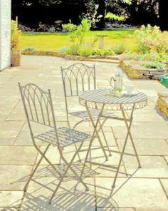 Versailles Bistro Garden Set - Steel Garden Table and Folding Chairs