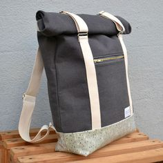"Roll Top Backpack ""AHTI"", grey 