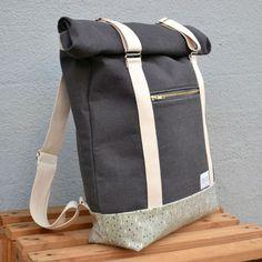 "Roll Top Backpack ""AHTI"", grey | Weecos Costura Diy, Diy Backpack, Top Backpacks, Tote Pattern, Designer Backpacks, Fabric Bags, Laptop Bag, Bag Accessories, Tote Bag"