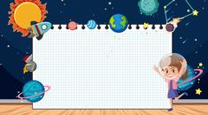 Border Template With Space Theme In Background Classroom Background, Theme Background, Dark Blue Background, Seamless Background, Vector Background, Creative Poster Design, Creative Posters, Powerpoint Background Free, Robot Cartoon