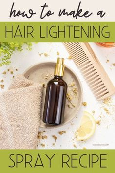 DIY hair lightening spray recipe for natural highlights that won't cause hair damage. Easy natural hair care tips and beauty recipes for soft, beautiful hair! Lighten hair naturally with an easy, herbal DIY hair lightener spray. This homemade hair lightener sets soft highlights & lends a healthy, sun-kissed glow. Want to learn how to lighten hair naturally? Discover different ways for to naturally lighten your hair with everyday ingredients plus an easy DIY hair lightener spray recipe! Lighten Hair Naturally, How To Lighten Hair, How To Make Hair, Homemade Hair, Homemade Beauty, Natural Hair Care Tips, Natural Hair Styles, Natural Beauty, Diy Hair Lightening Spray