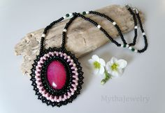 Necklace MAJA. Bead embroidered pendant necklace with agate. Beaded pendant. Agate. by MythaJewelry on Etsy