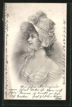 old postcard: AK Wunderschöne junge Frau mit Hut auf dem Kopf