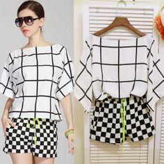 Women's Celeb Style Summer Grid Pattern T-shirt + Hot Shorts Pants 2 Piece Set Black White