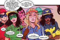 DC Comics Bombshells, The Batgirls, from left to right; Tim Drake, Alysia Yeoh, Kathy Duquesne, Bette Kane, Felicity Smoak, Nell Little, Harper Row (Not Shown), Cullen Row (Not Shown)