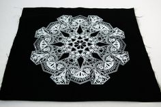 Floral Mandala Sew On Back Patch in Black by FennecDesignCo, $6.00