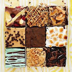 Boxed Set Brownies.  Jazz up your favorite brownie mix with a few delicious additions.      Row 1:  Raspberry Cheesecake, Caramel Pretzel, Tropical    Row 2:  Peanut Butter Layer, Ginger Spice, S'Mores    Row 3:  Grasshopper, Crumb Coffee Cake, Cookies and Cream Absolutely love this idea for yuletide or auction!!!