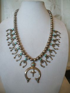 Exquisite Vintage NAVAJO Heavy NAJA Sterling Silver & Turquoise SQUASH Blossom Necklace.  TurquoiseKachina, $773.10