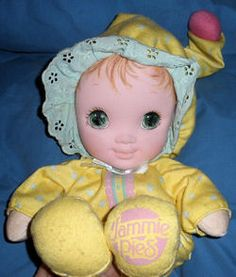 Playskool JAMMIE PIES Yellow DOLL <3 <3 <3 I loved my Jammie Pie!!!! And My brother definitely bit a whole in her face. Jerk! haha