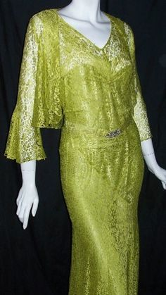 Absinthe green 1930s gown and jacket with rhinestone deco buckle sash
