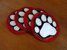 Cabin Coasters, Bear Paw Coasters, Felt Penny Rug, Bear decor, Rustic Woodland, Felt Coasters, Cabin Fever, Bear Tracks, Handmade Coasters by LogCabinFeverGifts on Etsy
