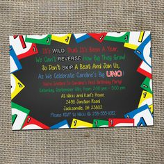 Hey, I found this really awesome Etsy listing at https://www.etsy.com/listing/194968677/uno-theme-birthday-party-invitation-for