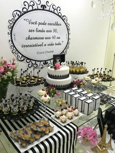 40th Birthday, Birthday Party Themes, Chanel Decor, Chanel Party, Candy Table, Masquerade, Save The Date, Place Card Holders, Tableware