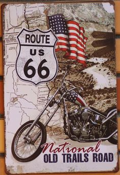 Metal Tin Sign Poster Vintage US Route 66 Motorcycle Tin Bar pub home Wall Decor Retro Metal Art Poster ~ Retro Home Decor ~ Olivia Decor - decor for your home and office. Route 66 Sign, Retro Poster, Poster Vintage, Historic Route 66, Retro Motorcycle, Images Vintage, Garage Art, Garage Ideas, Vintage Metal Signs