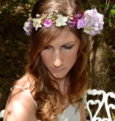 Lavender Rose Bridal Flower Crown -lavender, purple, pale green and cream roses and hydrangea adorn this gorgeous wedding halo with crystals on Etsy, $50.00