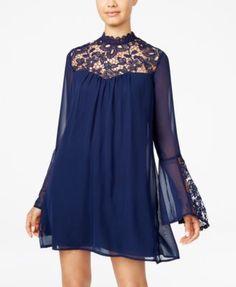 Trixxi Juniors' Lace-Yoke Shift Dress