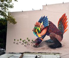 """Mexico City based Curiot, whose sold out solo show Age of Omuktlans ran last March at FFDG, just finished this great mural entitled """"El Retorno de Akhankutli"""" in Mexico. He recently completed one in Berlin too . Street Art News, Best Street Art, Street Art Graffiti, Street Artists, Reverse Graffiti, Installation Street Art, Berlin, Social Art, Funky Art"""
