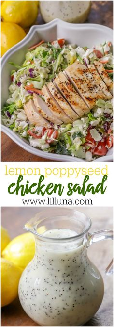 Lemon Poppyseed Chicken Salad - a delicious chopped salad with tomatoes, craisins and sunflower seeds and topped with a delicious homemade lemon poppyseed dressing.