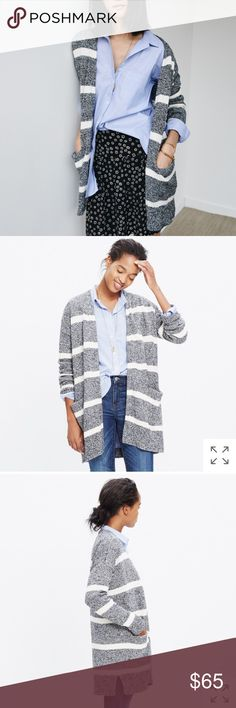 Madewell striped open cardigan sweater Excellent condition, no flaws to note. Runs TTS in my opinion. Madewell Sweaters Cardigans