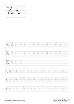 Nauka pisania dla dzieci, h pisane, pomoc w kształceniu grafomotoryki, Anna Kubczak